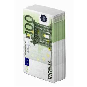 Салфетки бумажные GRATIAS с рисунком 100 ЕВРО