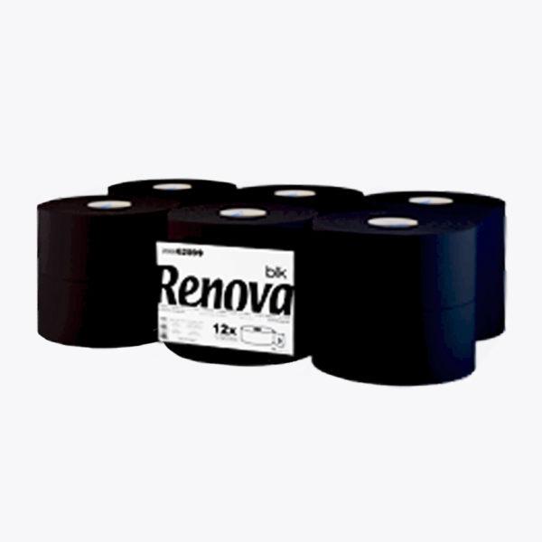 Туалетная бумага RENOVA Black 120 метров, 12 рулонов