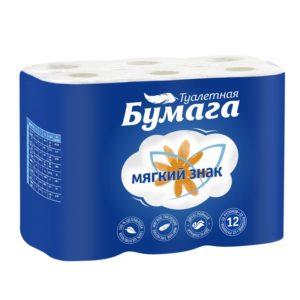 Туалетная бумага Мягкий знак Облака синие 12 рулонов (С57)