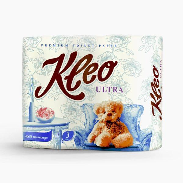 Туалетная бумага Kleo Ultra 3-х-слойная 4 рулона (С86)