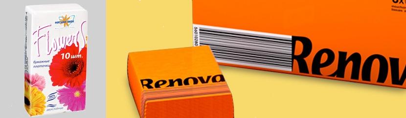Бумажные платочки в ассортименте