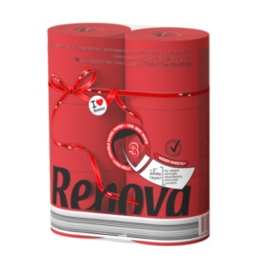 Туалетная бумага RENOVA Red Lable MAXI Red двухцветная 6 рулонов
