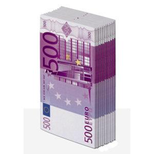 Салфетки бумажные GRATIAS с рисунком 500 ЕВРО