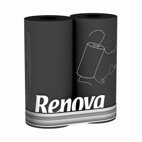 Черные бумажные полотенца Renova Black, 2 рулона