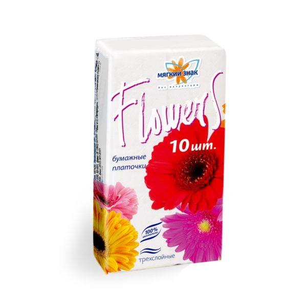Платочки бумажные Мягкий знак Flowers 3-х-слойные (С46)