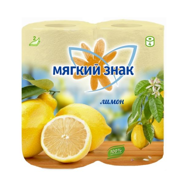 Туалетная бумага Мягкий знак Deluxe Aroma Лимон 4 рулона (С17)