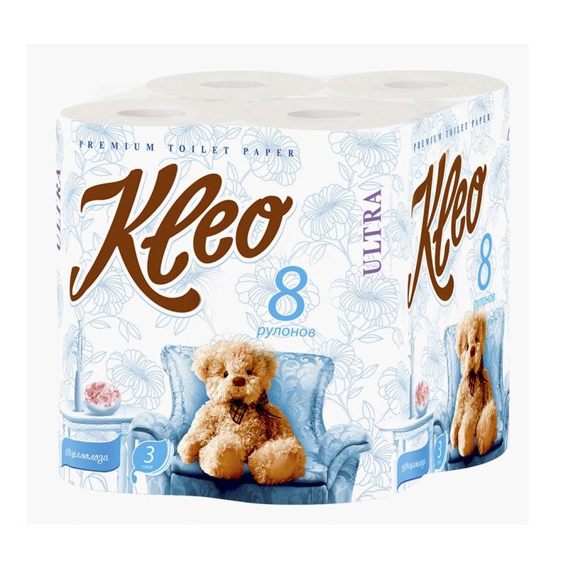 Бумага туалетная Kleo Ultra 8 рулонов 3-х-слойная (С130)