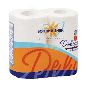 Туалетная бумага Мягкий знак Deluxe 4 рулона белая (С41)