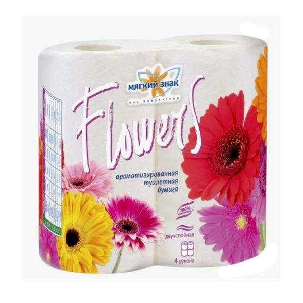 Туалетная бумага Мягкий знак Flowers 4 рулона (С48)