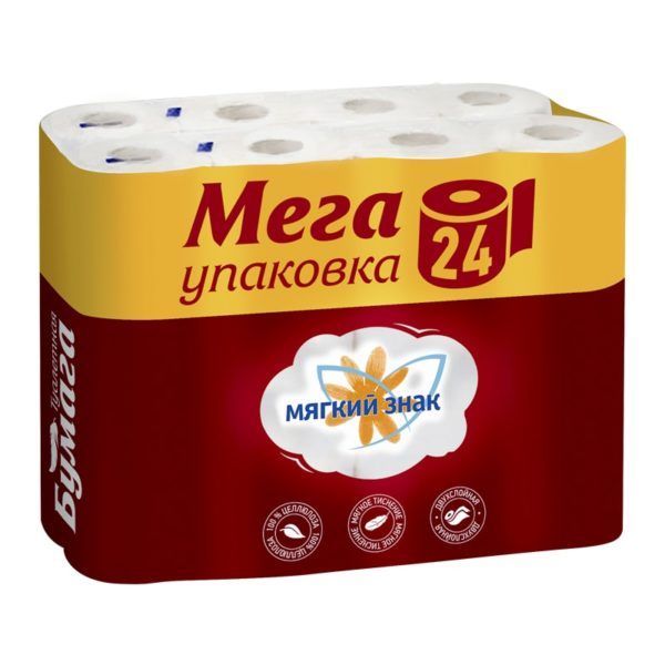 Туалетная бумага Мягкий знак МЕГА Облака 24 рулона (С52)