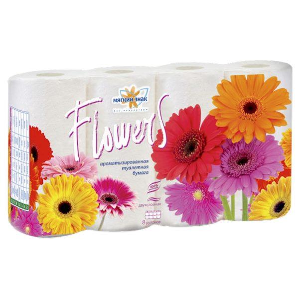 Туалетная бумага Мягкий знак Flowers 8 рулонов (С56)
