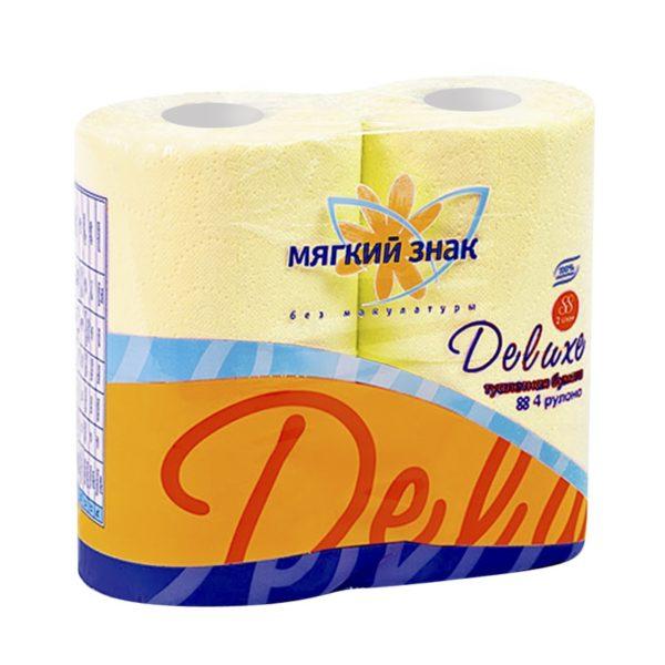 Туалетная бумага Мягкий знак Deluxe 4 рулона желтая (С44)