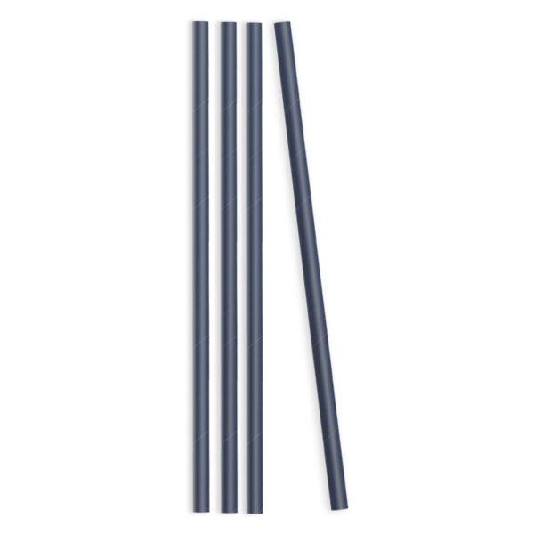 Трубочки бумажные для напитков синие без рисунка, 50 шт.